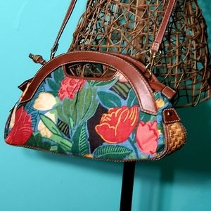 Vintage Fossil floral satchel carpetbag purse bag